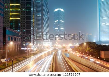 Shanghai Lujiazui Finance & Trade Zone modern city night background - stock photo