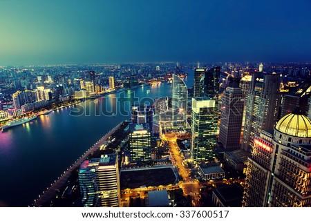 Shanghai night view, China - stock photo