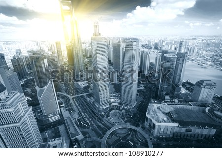 Shanghai Pudong city bird's eye view - stock photo