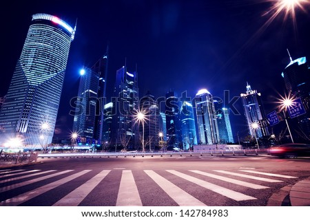 Shanghai Pudong City Night - stock photo