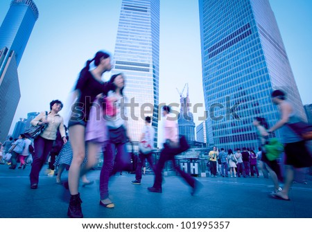 Shanghai Pudong people - stock photo