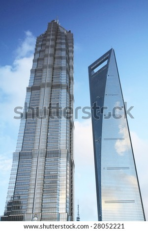 Shanghai's Jin Mao Tower & Shanghai World Financial Center(SWFC) - stock photo
