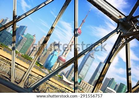 Shanghai skyline across Garden Bridge, China - stock photo