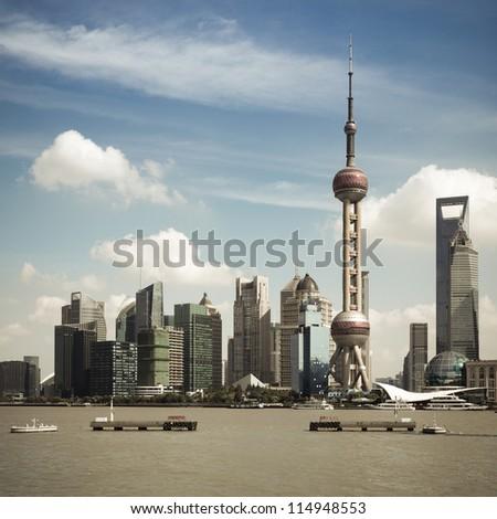 shanghai skyline at daytime,view from the garden bridge - stock photo