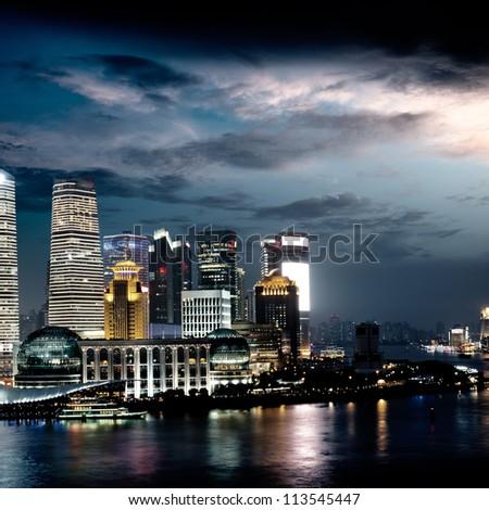 shanghai skyline at night - stock photo