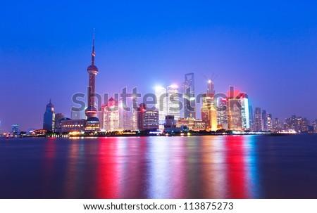 shanghai skyline at night,beautiful night view - stock photo