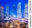 Shanghai Skyline at night,shanghai,china - stock photo