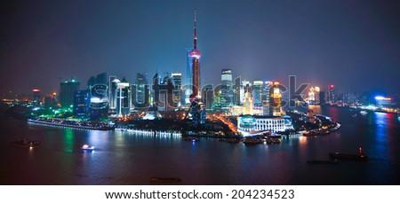 Shanghai skyline by night, China - stock photo