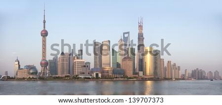 Shanghai Skyline, spring 2013. panorama - stock photo