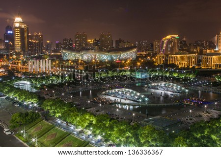 Shanghai subway station and Oriental Art Center at night - stock photo