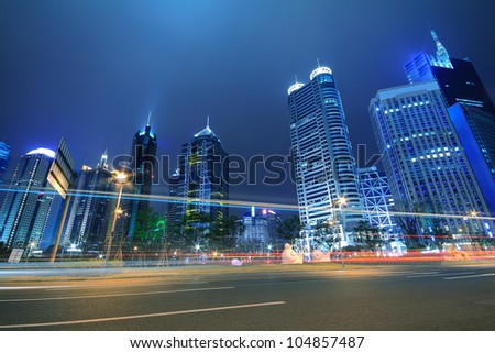 Shanghai urban landscapes  night view in the far East - stock photo