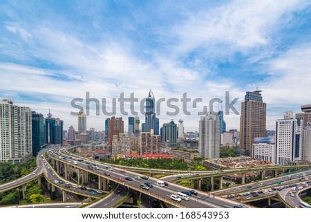 Shanghai viaduct - stock photo
