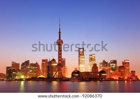 shanghai with sunrise - stock photo