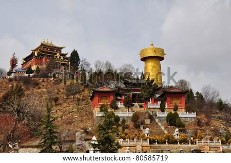 shangri la, China (the biggest prayer wheel in the world) - stock photo