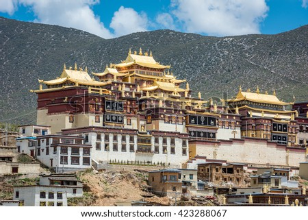 Shangrila. Ganden Sumtseling Monastery. Tibetan Buddhist monastery in Yunnan province, China.  - stock photo