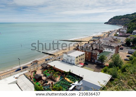 Shanklin town Isle of Wight England UK, popular tourist and holiday location east coast of the island on Sandown Bay with sandy beach   - stock photo