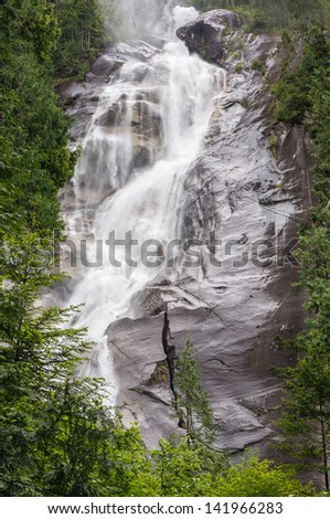 Shannon Falls - the third highest falls in British Columbia, Canada. - stock photo