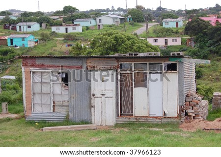 Shanty house in informal settlement, Nemato Township, Eastern Cape, South Africa - stock photo