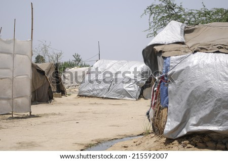 Shanty town for  displaced communities in India. - stock photo