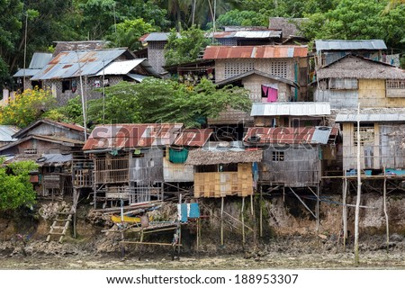 Shanty wooden homes in Kalikud island, Philippines - stock photo