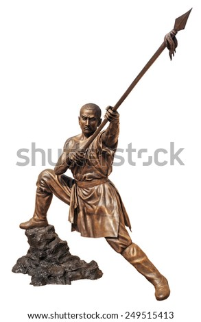 Shaolin warriors monk in Chinese Temple Viharn Sien, Chonburi, Thailand. Bronze statue isolated on white with clipping path - stock photo