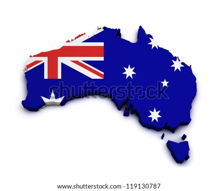 Shape 3d of Australia map with flag isolated on white background. - stock photo