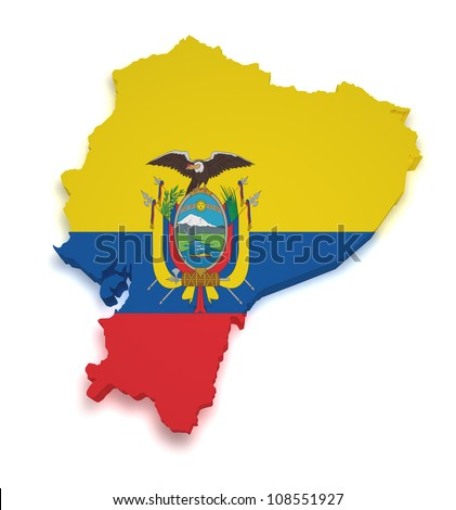 Shape 3d of Ecuadorian flag and map isolated on white background. - stock photo