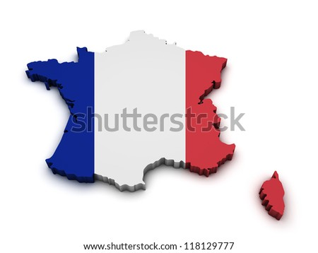 Shape 3d of France map with flag isolated on white background. - stock photo