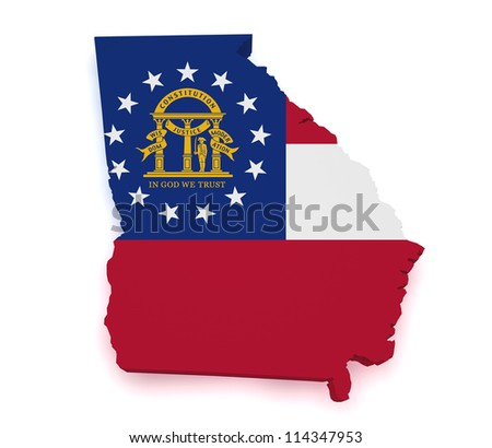 Shape 3d of Georgia map with flag isolated on white background. - stock photo