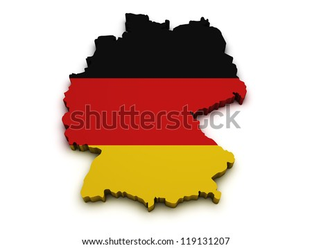 Shape 3d of Germany map with flag isolated on white background. - stock photo