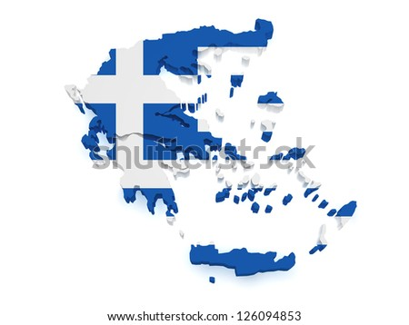 Shape 3d of Greece map with flag isolated on white background. - stock photo