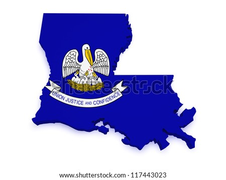 Shape 3d of Louisiana map with flag isolated on white background. - stock photo