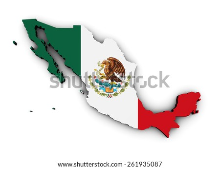 Shape 3d of Mexico map with Mexican flag isolated on white background. - stock photo