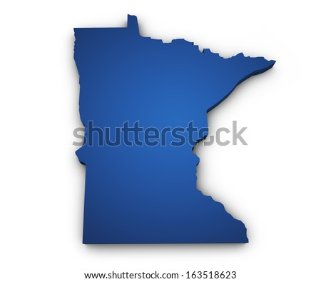 Shape 3d of Minnesota map colored in blue and isolated on white background. - stock photo
