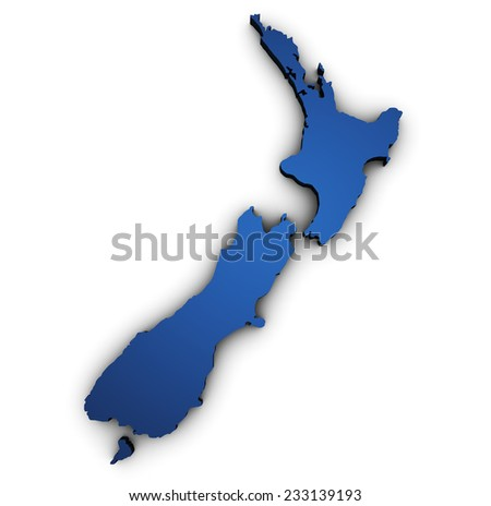 Shape 3d of New Zealand map colored in blue and isolated on white background. - stock photo