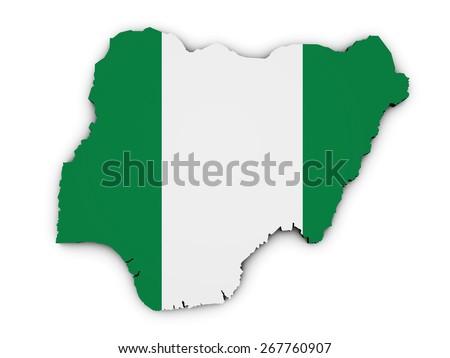 Shape 3d of Nigeria map with Nigerian flag illustration isolated on white background. - stock photo