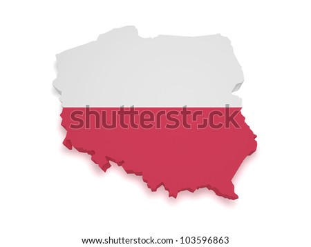 Shape 3d of Polish flag and map isolated on white background. - stock photo
