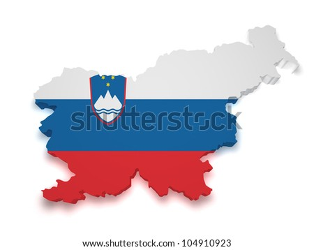 Shape 3d of Slovenia flag and map isolated on white background. - stock photo