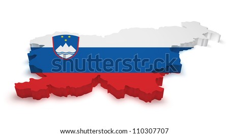 Shape 3d of Slovenia map with flag isolated on white background. - stock photo