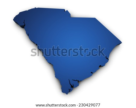 Shape 3d of South Carolina state map colored in blue and isolated on white background. - stock photo