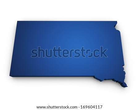 Shape 3d of South Dakota map colored in blue and isolated on white background. - stock photo