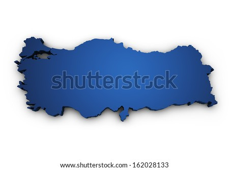 Shape 3d of Turkey map colored in blue and isolated on white background. - stock photo