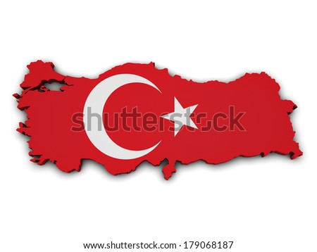 Shape 3d of Turkey map with flag isolated on white background. - stock photo