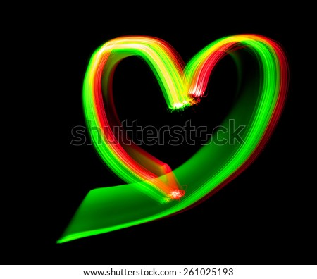 shape of heart - abstract Light Painting, Freezelight effect - stock photo