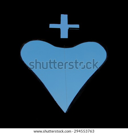 Shape of hearth and a cross with blue sky at the Basilica of the National Vow (Basilica del Voto Nacional), a Roman Catholic church, Quito, Ecuador 2015 - stock photo