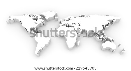 Shape of world map. 3D illustration. - stock photo