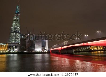 Shard and London Bridge at Night - stock photo