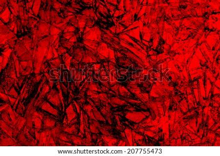 Shards of broken red ice on lake for background - stock photo