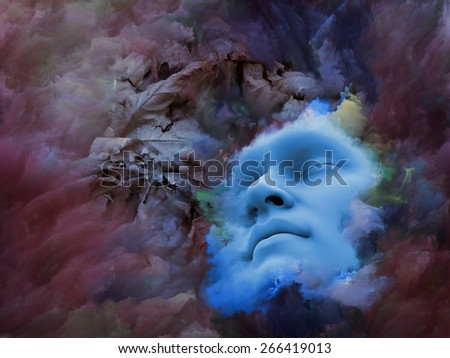 Shards of Dream series. Backdrop design of human face and colorful graphic elements to provide supporting composition for works on dreams, mind, spirituality, imagination and inner world - stock photo