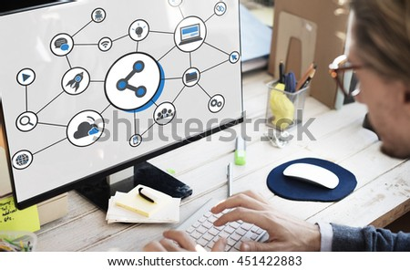 Share Icon Social Media Connection Concept - stock photo